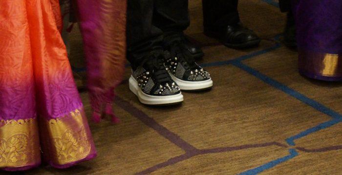 ARRs spiky sneakers and kanjeevaram zari borders